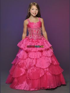 Affordable A Line Strap Floor Length Little Rosie Girls Pageant Dress Pagent Dresses, Little Girl Pageant Dresses, Pink Party Dresses, Pageant Gowns, Girls Party Dress, Ball Dresses, Pink Dress, Ball Gowns, Women's Dresses