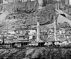 Αθήνα, δεκαετία 1880, καφενεδάκια στους Στύλους του Ολυμπίου Διός [λεπτομέρεια].