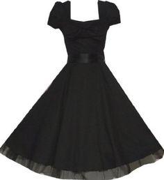 Pretty Kitty Fashion 50s Black Vintage Swing Prom Pin-Up Tea Dress - Buy New: £29.99 - £34.99
