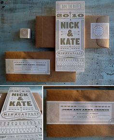 Designed by Minneapolis based graphic designer Kate Gabriel for her own wedding, this vintage inspired letterpress wedding invitation is ju. Letterpress Save The Dates, Letterpress Wedding Invitations, Letterpress Printing, Wedding Stationary, Wedding Programs, Invitation Design, Invitation Cards, Invitation Ideas, Graphic Design Inspiration