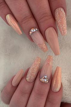 Nail Art Ideas for Coffin Shaped Nails - crazyforus nail id.- Nail Art Ideas for Coffin Shaped Nails – crazyforus nail ideas peach – Nail Ideas - Peach Nails, Rose Gold Nails, Pink Nails, Gel Nails, Nail Nail, Nude Sparkly Nails, White Nails, Sparkly French Manicure, Dark Nude Nails