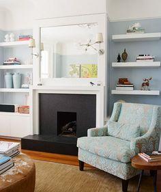 cool ideas for home decor on pinterest floating shelves fireplaces and mantles. Black Bedroom Furniture Sets. Home Design Ideas