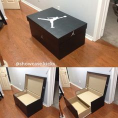 Inspired by my daughter to start making this giant Jordan sneaker box. They make the best gift for a sneakerhead Shoe Box Design, Rack Design, Store Design, Giant Shoe Box Storage, Sneaker Storage, Shoe Drawer, Sneakers Box, Cubes, Boys Bedroom Decor
