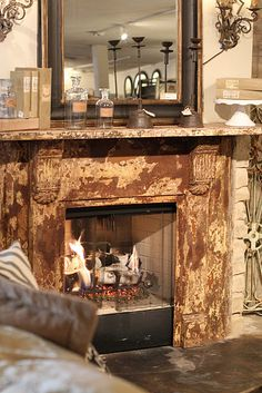 Distressed Fireplace On Pinterest Rustic Fireplace Mantels Distressed Mantle And Painted