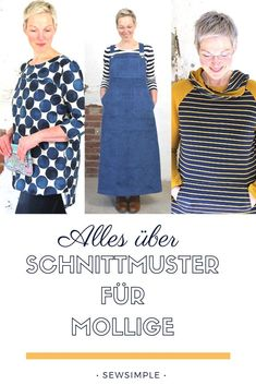 Sewing patterns for chubby: close to nice big sizes & plus sizes - Näh-Idee - Easy Sewing Easy Sewing Projects, Sewing Projects For Beginners, Sewing Hacks, Sewing Tutorials, Sewing Tips, Plus Size Sewing Patterns, Pattern Sewing, Plus Size Tips, Diy Kleidung