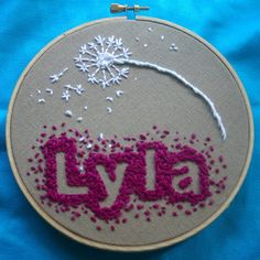 """""""Lines Across"""": Baby Name Embroidery.  Good tutorial on how to embroider in the negative spaces"""