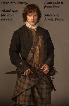 "Sam Heughan as Jamie Fraser! I'm guessing this is from that show ""Outlander"" but it is a man in a kilt Diana Gabaldon Outlander, Diana Gabaldon Bücher, Jamie Fraser, Claire Fraser, Fraser Clan, Outlander Tv Series, Outlander Season 1, Outlander Casting, Starz Outlander"