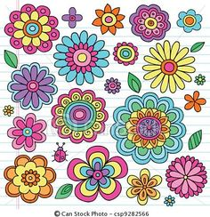Vector - Flower Power Groovy Doodles Vectors - stock illustration, royalty free illustrations, stock clip art icon, stock clipart icons, logo, line art, EPS picture, pictures, graphic, graphics, drawing, drawings, vector image, artwork, EPS vector art