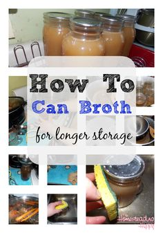 Learn how to make and can your own broth at home. Love the health benefits of bone broth (especially cuz we raise our own chickens and beef) and this shows you how to can up that goodness for later Pressure Canning Recipes, Canning Tips, Home Canning, Canning Food Preservation, Preserving Food, Do It Yourself Food, Slow Cooker, Canned Food Storage, Canned Chicken