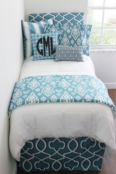 Designer dorm room bedding and decor. Custom monogramming, dorm headboards, custom dorm duvet, bed skirts, window panels, and designer pillows. Beautiful Blue Custom Designer Teen Girl & Dorm Room Bedding Set