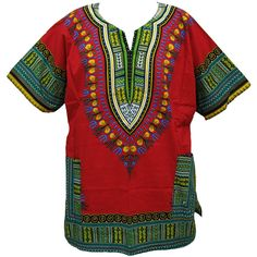 "Traditional African Print Dashiki Tops (Red) ~Each one pays homage to the African dashiki while being at an affordable price. One size fits most; 54"" chest and 34"" length. 100% cotton; best if hand washed. Made in Thailand. Available in many other colors."