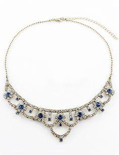 Collar hueco cristal dorado con piedra azul EUR€5.28