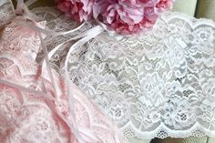 2y light pink lace I Lingerie lace I Pink lingerie lace I Wide lace trim I Border lace I Lingerie supplies I Shabby chic lace I Lace trim by SixthCraft on Etsy
