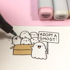 Adopt a ghost!! ✨ Spooky plushies are now available on shopkirakira.com Link in bio ✨ • • #kawaii #cute #spookymccute #spooky #plushie #plushiesofinstagram #かわいい #可愛い #doodle #coloring #copicmarkers