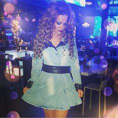 $56.99 Lace Applique Plunging Acid Wash Skater Dress with Belt