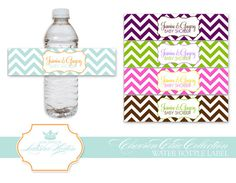 Chevron Chic Collection  Printable Water Bottle Label by LuxePaper, $7.75