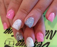Pink,White And Glitter Powder Nails