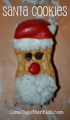 Come Together Kids: Nutter Butter Santa Cookies. This site is great!! She is also on Pinterest. A great follow.