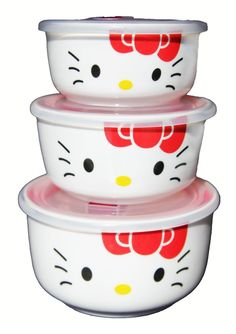 NEED!!❤️3-piece Hello Kitty Ceramic Clear Bowl Storage Containers Set with sealing lid