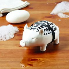 Pig Soap Dish with Shea Butter Scented Soap Net Wt. 150 g Soap Ceramic Soap Net, Soap On A Rope, Dark Spots On Skin, Body Cleanser, Flying Pig, Bath Soap, Butler Pantry, Skin Firming, Piggy Bank