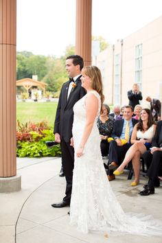 Beautiful couple under the Portico at the @Indianapolis Art Center