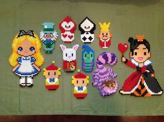 These Alice In Wonderland Perler figures were so much fun to make :) - by Reyna send Maria