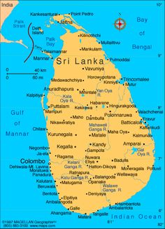 Sri Lanka Map showing Sri Lanka Beaches