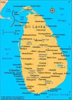 Sri Lanka Map showing Sri Lanka Beaches