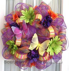 Deco Mesh Wreath Orange Purple Lime Stripe for Spring #decomesh #wreaths