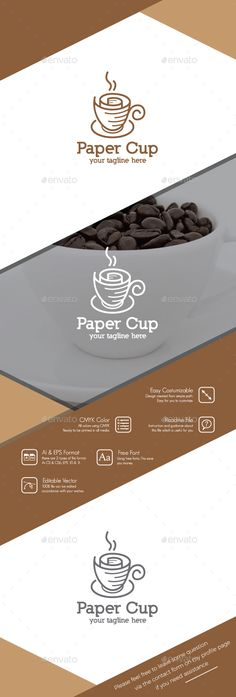 Paper Cup Logo  — EPS Template #hot #coffee shop • Download ➝ https://graphicriver.net/item/paper-cup-logo/18459590?ref=pxcr