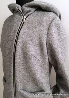 Szycie dla bardzo początkujących: Przepis na wełniany płaszcz Hoodies, Sweatshirts, Wool Coat, Custom Made, Sewing Projects, Sweaters, Women, Fashion, Moda