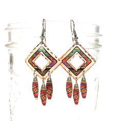 Native American Inspired Dangle Earrings Vintage 80s Western Copper Enamel Southwest Pierced Navajo Pattern Taos Earrings Hippie Boho Ethnic by SpunkVintage