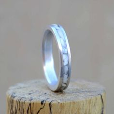 Womens Stacking Wedding Band: Thin Band With Crushed Elk Ivory (Tooth) Inlay. Stag Hound, Elk Head Design