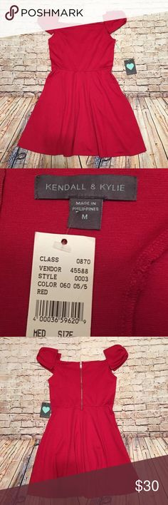 Kendall and Kylie Dress Kendall and Kylie, red off the shoulder dress, size medium. NWT. Kendall & Kylie Dresses Mini
