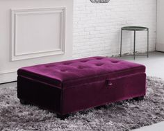 Hugo is a rectangular storage footstool with a buttoned-dimple design finish to it.