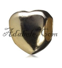 This beautiful gold heart .925 Sterling Silver European charm fits Pandora, Biagi Trollbeads, Chamilia, and most charm bracelets find out more at adabele.com