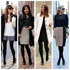 A imagem pode conter: 4 pessoas, pessoas em pé e sapatos Outfits Otoño, Skirt Outfits, Winter Outfits, Fashion Outfits, Office Fashion Women, Womens Fashion, Tights Outfit, Girl Running, Western Dresses