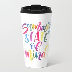 Summer State Of Mind Metal Travel Mug - Watercolor Brush Lettering