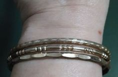 Vintage 1970's Gold Plated Set of 3 Attached Bangles #Unbranded