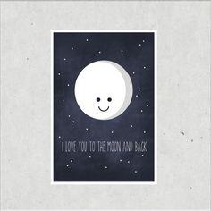 """Bilder - Kunstdruck / Artprint """"To the Moon and back""""  - ein Designerstück von TypicalMe bei DaWanda"""