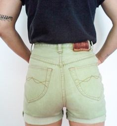 *SOLD* Vintage 'Vienna Club' High Waist Shorts Size Small Sage Green Cuffed