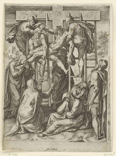 Cornelis Cort   Kruisafneming, Cornelis Cort, Girolamo Muziano, Antonio Lafreri, 1568   Christus wordt van het kruis gehaald door Nicodemus en Jozef van Arimathea. Er staan vier ladders tegen het kruis. Maria Magdalena grijpt naar Christus voeten. Op de grond zitten wenende vrouwen.