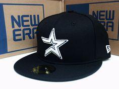 Houston Astros Baseball Cap New Era Hat 5950 Fitted MLB Black White 59Fifty | eBay