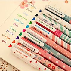 10 pcs/lot 10 colors New Cute Cartoon Colorful Gel Pen Set Kawaii Korean Stationery Gift Free shipping 050-in Gel Pens from Office & School ...