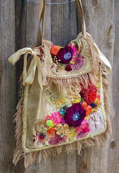 Art Nouveau  big bohemian purse ornate  wearable by FleursBoheme
