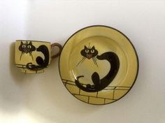 Rare Antique Watcombe Torquay England Black Cat John Barker Extremely Rare Pottery Cup & Plate