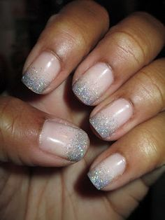 Soft pink glitter nails - My wedding ideas