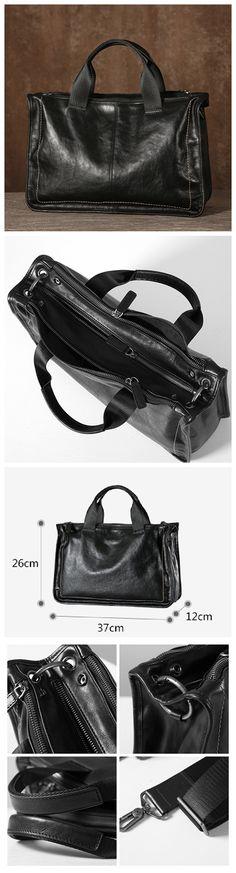 Genuine Leather Briefcase, Men's Travel Bag GLT003 Vintage Leather, Leather Men, Mens Travel Bag, Popular Bags, Leather Briefcase, Gym Bag, Black, Leather Satchel, Black People