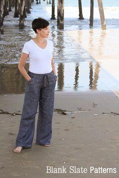 Casual Drawstring Pants Sewing Pattern - Oceanside Pants by Blank Slate Patterns