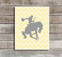 "For your LOVE of Cowboys Annie!     Yellow/Grey ""Cowboy/Horse"" Nursery decor, baby nursery art. Nursery Wall art, silhouette - typographic print, 5x7""  professionally  printed"
